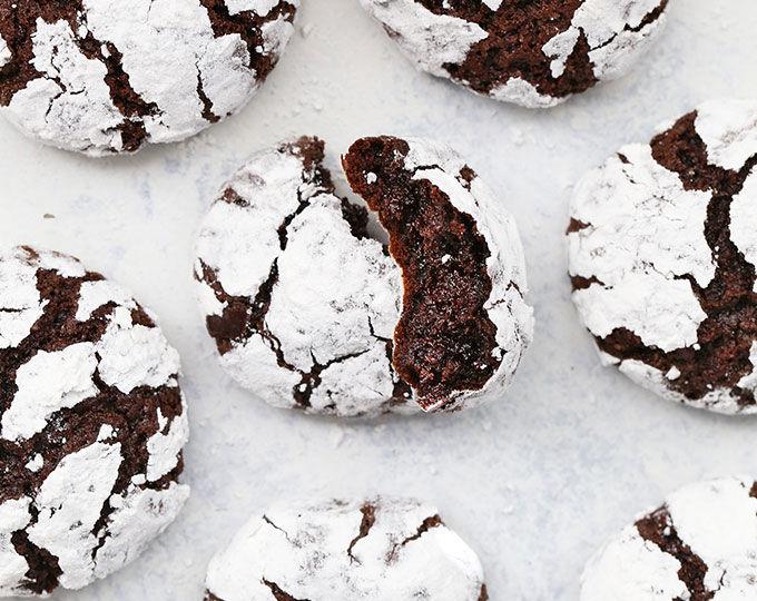 Gluten-Free Peppermint Chocolate Crinkle Cookies